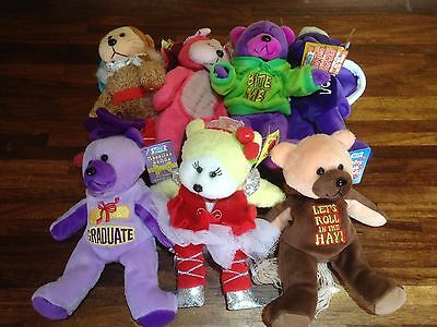 """Gifted Bear ~ 7 Assorted X Shop Stock With Tags Job/bulk Lot 8"""" Or 22 Cm  (C)"""