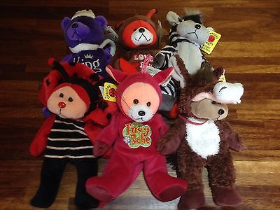"""Gifted Bear ~ 6 Assorted X Shop Stock With Tags Job/bulk Lot 8"""" Or 22 Cm  (C)"""