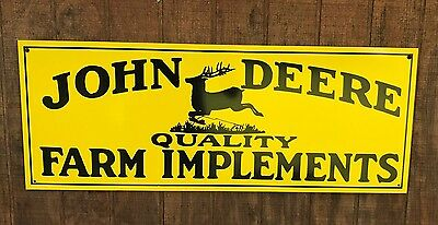 Antique Vintage Old Look John Deere Farm Implements Sign 31 inches!!!
