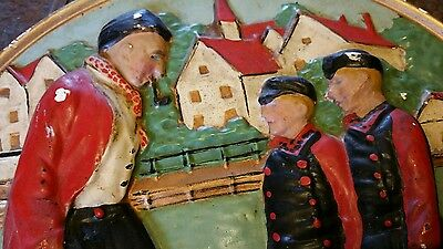 Wall Hanging 3D Plaster Cast Plaque Plate Fisherman. Flemish holland dutch 1930'