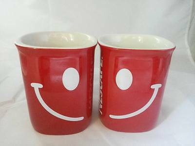 New Set Of 2 Smile Cup Mugs Red Nescafe Coffee Tea Premium Gift Limited Edition