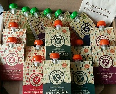 16 Babease Baby Food Pouches (Stages 1 and 2) with a free bib and bag