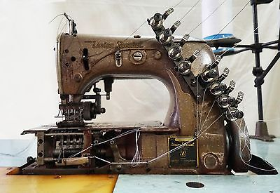 UNION SPECIAL 54200 4-Needle 8-Thread Chain Stitch Sewing Machine Working