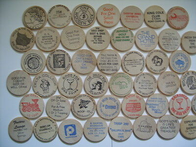 Mixed Lot of 46 Wooden Nickel Nickels Collection from United States 1970's 1980s