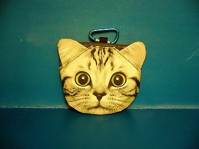Cat Kitten Pet American Shorthair Coin Bag Purse With Hook BAG315 NEW