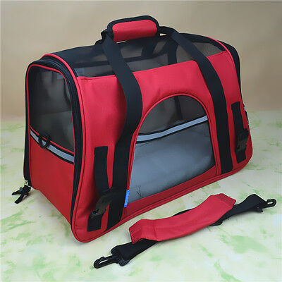 Red Pet Carrier Soft Sided Small Cat /Dog Comfort Travel Bag Airline Approved
