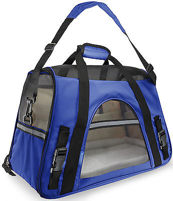 Blue Pet Carrier Soft Sided Small Cat /Dog Comfort Travel Bag Airline Approved