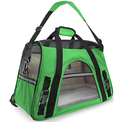 Green Pet Carrier Soft Sided Small Cat /Dog Comfort Travel Bag Airline Approved
