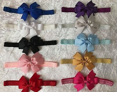 Baby Girls Bow Glitter Band Headband Soft Elastic  Variety Hair Accessories +Lot