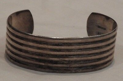 Vintage Mexico Sterling Silver Ribbed Cuff Bracelet