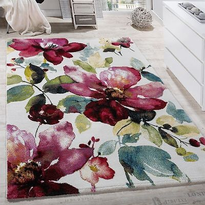 Small Large Rug Modern Design Carpet Floral Colourful Flowers Living Room Mats