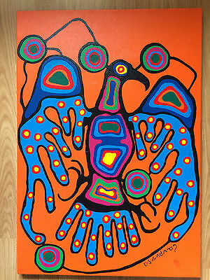 "NORVAL MORRISSEAU Orange Thunderbird Giclee on Canvas 32.5"" x 22.5"""