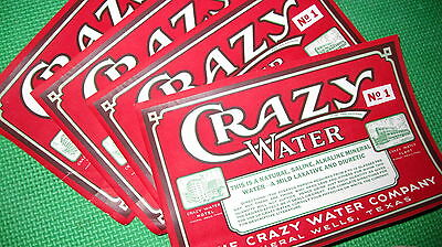 "Vintage ""CRAZY WATER"" company Bottle Labels"