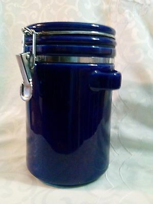 """Cobalt Blue 8"""" Glass Canister Food Storage Container w/ Bale Wire Locking Lid"""