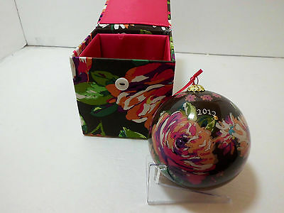 "2012 Vera Bradley Ornament - 4"" Hand Painted Glass - English Rose Pattern - NWT"