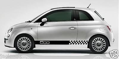 2 Side Stripe Fiat 500 Rally Race DECAL STICKER KIT checkered