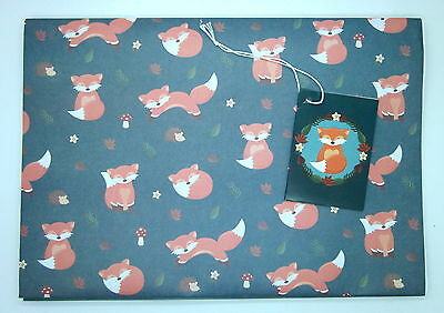 Cute Fox Single Sheet of 50cm x 70cm Wrapping Paper with Tag
