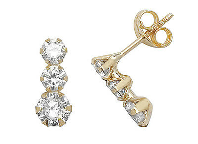 Chic 9ct Gold Ladies Stud Earrings with Cubic Zirconia/CZ - 11mm*4mm