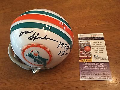 Don Shula Signe Miami Dolphins Throwback Mini Helmet JSA Coa 1972 17-0