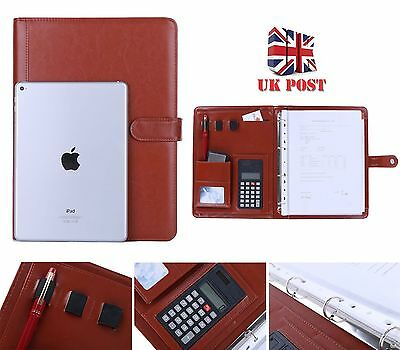 Brown Conference Business Folder Zipped PU Leather Binder Portfolio Organiser