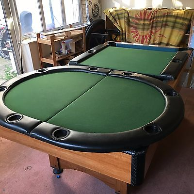 Foldable Poker Table Top 10 Players Green Felt Cloth Cup Holders Leather Rest