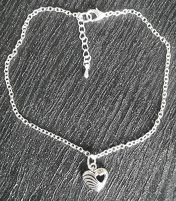 Silver plated ankle chain tibetan silver heart charm anklet ankle bracelet