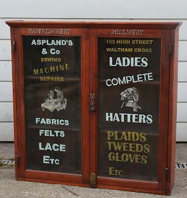 An Antique Pine Haberdashery Shop Two Door Display Cabinet Wall Mounting