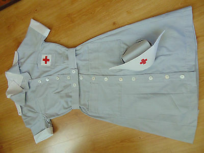 Ww2 American Nurse Red Cross Vad Uniform Dress And Cap Custom Made  For You