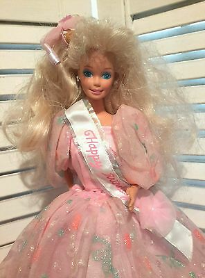 "1990""s Happy Birthday Barbie Original Gown TNT Bendable Knees Pretty Pink Barbie"