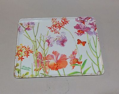 Mebel Glossy Plastic Tray Italy with Orchid Artwork by Jill Walker Barbados EUC