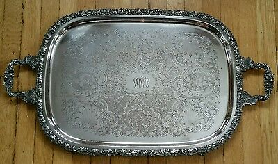 Large Ornate Antique Silverplate Tea Service Butlers Serving Tray Grapes Shells