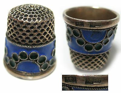 Antique Thimble Sterling Silver stamp Head 916 Enamel Russian
