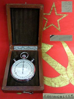 vintage STOPWATCH SLAVA 20 jewels wood box Soviet Russian made in USSR 70s