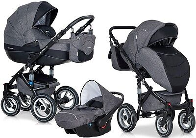 RIKO BRANO CARBON PRAM 3in1 CARRYCOT + PUSH CHAIR + CAR SEAT