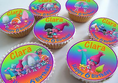 24 Trolls Birthday Personlised Cake Toppers