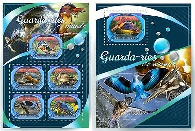 Z08 IMPERFORATED GB16804ab GUINEA-BISSAU 2016 Kingfishers MNH Set