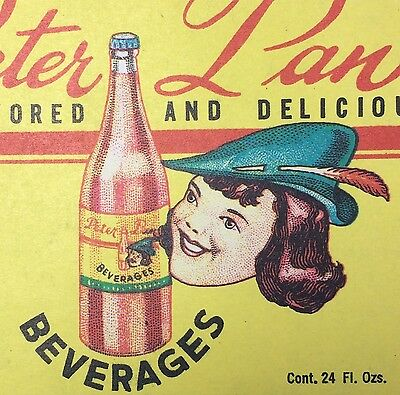 Original Vintage PETER PAN Soda Bottle Label Buffalo NY