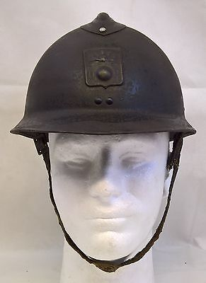 Ww2 French Adrian Helmet Defense Passive With Liner & Chin Strap