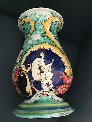 CHINI MUGELLO Awesome Italian Ceramic Vase Nude Ladies Hand Painted HUGE Liberty