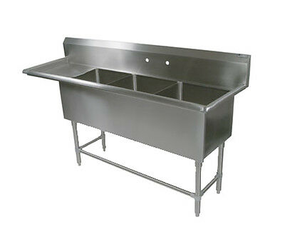 "John Boos 3PB16184-1D18L 3 Compartment 16"" x 18"" Stainless Steel Pro-Bowl Sink"