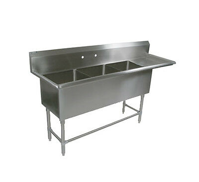"""John Boos 3PB30244-1D30R 3 Compartment 30"""" x 24"""" Stainless Steel Pro-Bowl Sink"""