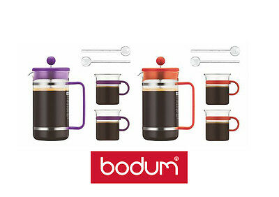 Bodum Bistro Set French Press Coffee Maker 8 Cup 2 glasses & spoons 2 Colours