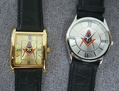 Lot of 2 Brand New Masonic Watches Leather Silver/Gold Tone