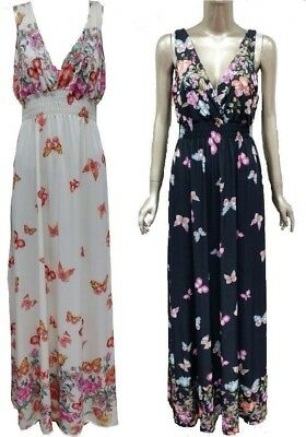 NEW Ladies Butterfly Print Sleeveless Cocktail Party Paisley Long Dress Maxi