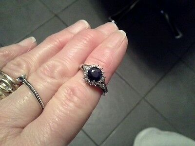 Solid silver sapphire and white topaz set ring by tggc genuine gems