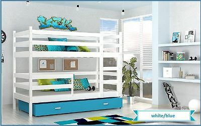 BUNK BED JACK CHILDRENS BUNK BED WITH 2 MATTRESSES AND STORAGE DRAWER white/blue