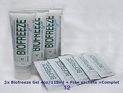 BIOFREEZE GEL 4oz/118ml x3 (TRIPLE PACK)+12 travel sachets,PAIN RELIEF,free ship