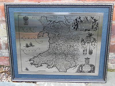 Vintage Antique Stainless Steel Plate Hand Engraved Picture Map Of Wales Framed
