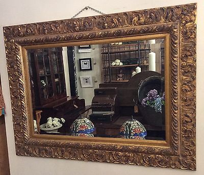 Large Bevelled Gilt Gold Hand Carved Timber Framed Wall Mirror
