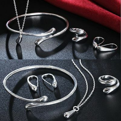 Bracelet Bangle Silver Plated Water Drop Jewelry Set Necklace Ring Earrings